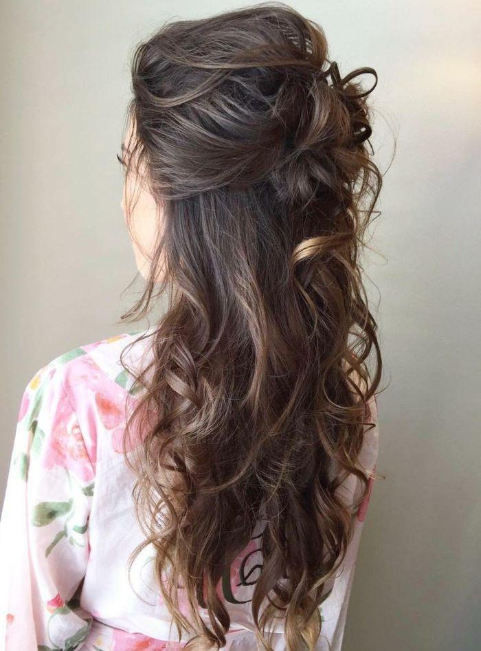 semirecogidos pelo rizado peinado novia cabello ondulado semirecogido