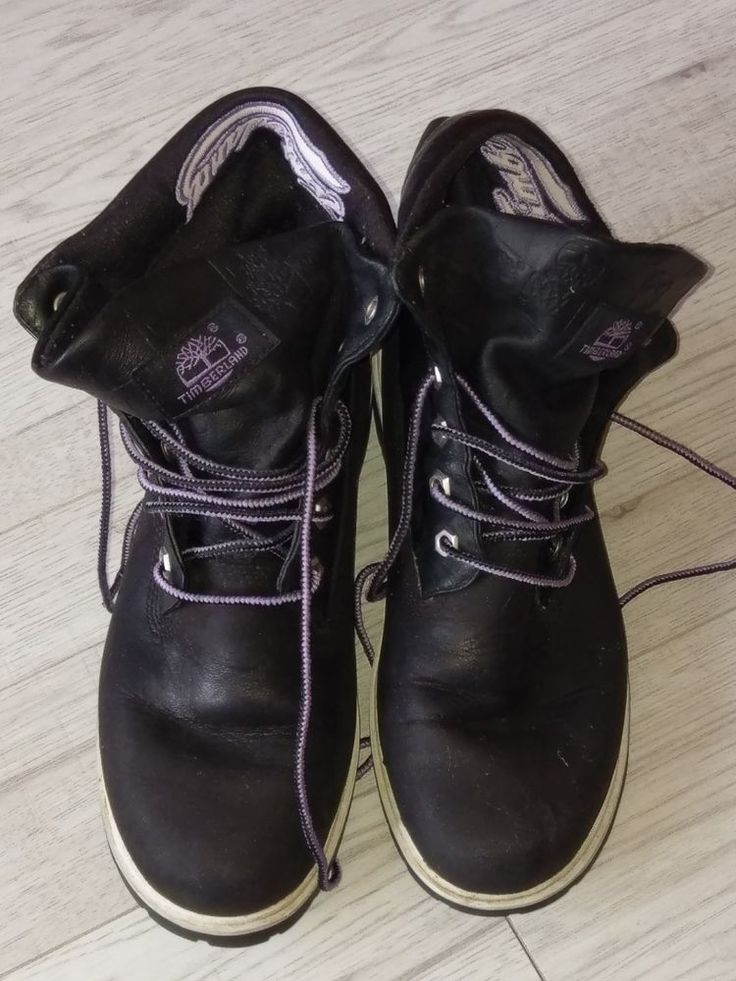 LADIES BLACK #TIMBERLAND ROLL TOP LEATHER SUEDE #BOOTS SIZE US 6.5 Purple Detail