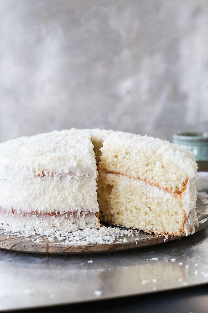 layered coconut cream vanilla cake