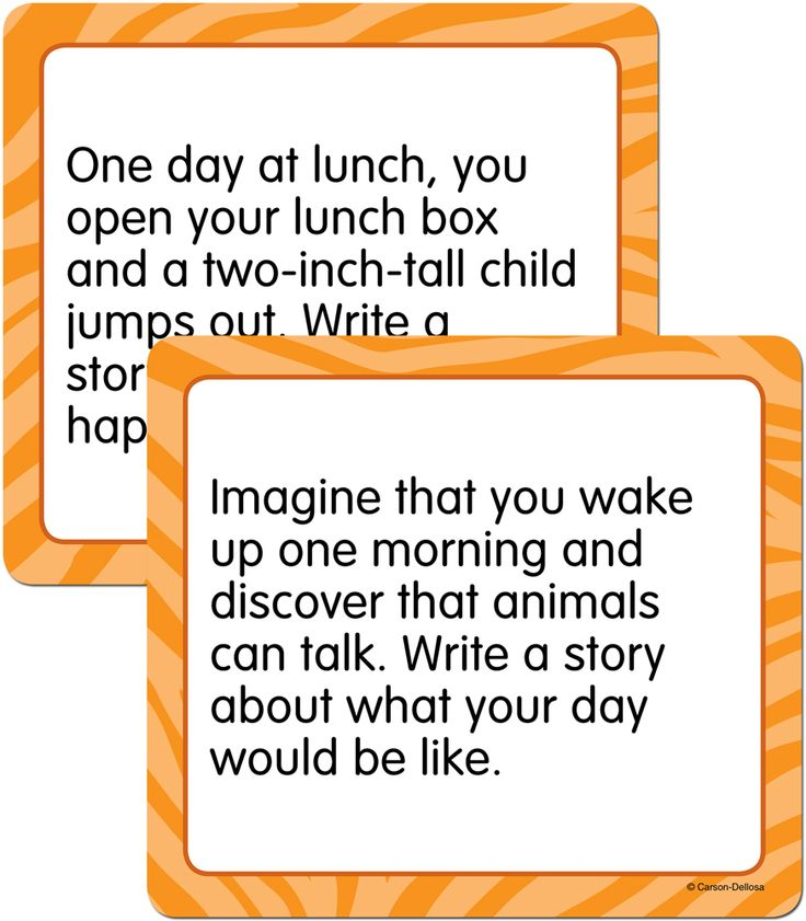 Includes 36 unique, fresh, fun, and intriguing Narrative Story Starters topics. An example of a story starter question is: When you arrive at school one morning, you see dogs and cats sitting at the desks, studying for a test. Write a story about what happens next.
