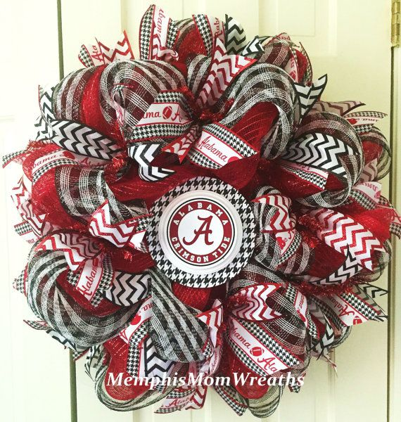 Alabama Football Deco Mesh Wreath  Bama by MemphisMomWreaths
