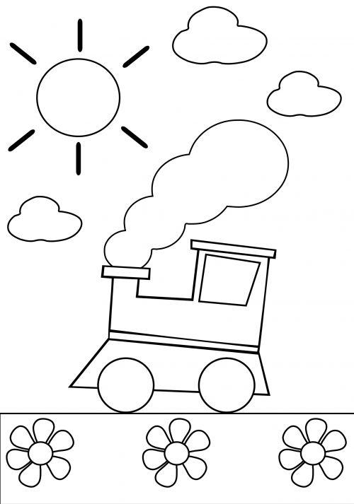 Preschool Coloring Page Train