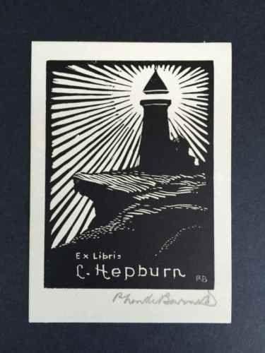 EX-LIBRIS-BOOKPLATE-AUSTRALIAN-P-Neville-Barnett-for-C-Hepburn-SIGNED