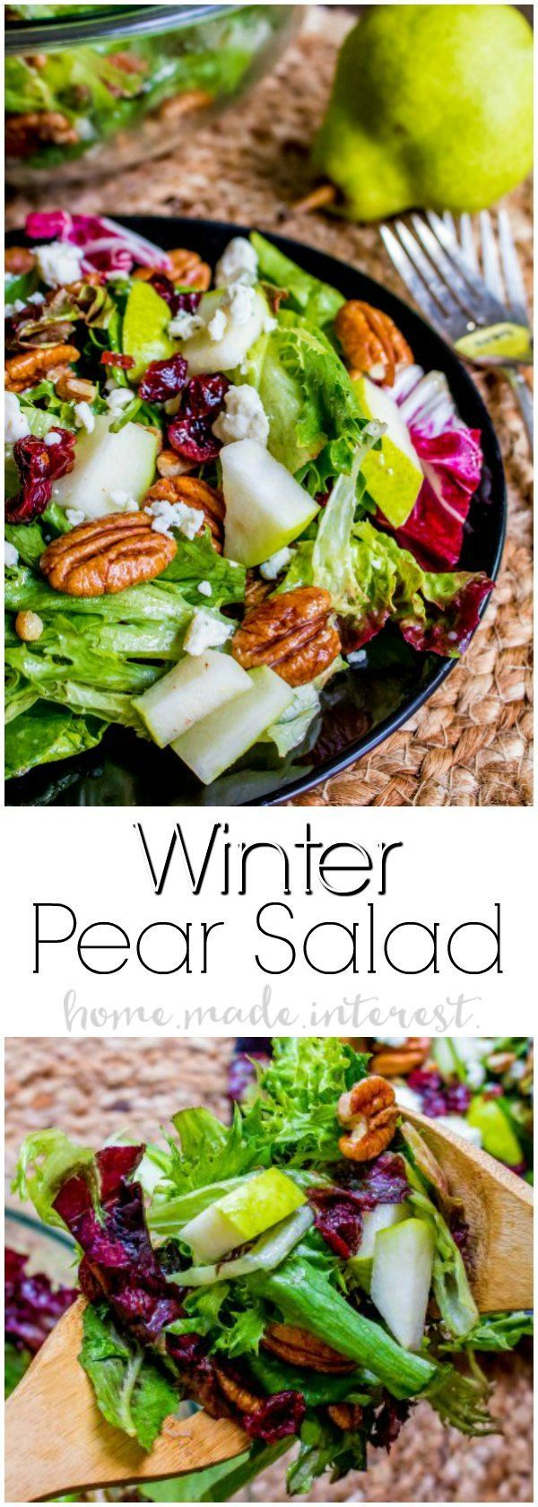 Winter Salad | This simple winter salad recipe is full of winter fruits and nuts like pears and cranberries, and pecans and is topped with a homemade vinagrette. This is the perfect side dish for holiday parties. Make this side dish for Thanksgiving or Christmas. Winter salad also makes a great healthy lunch or healthy dinner recipe when you want something like but full of flavor!