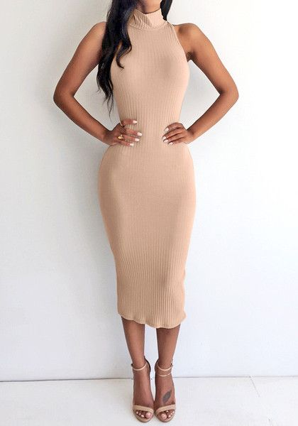 This mock neck bodycon midi dress is knitted using stretchable material in soft apricot shade which features a sleeveless cut. | Lookbook Store Dress