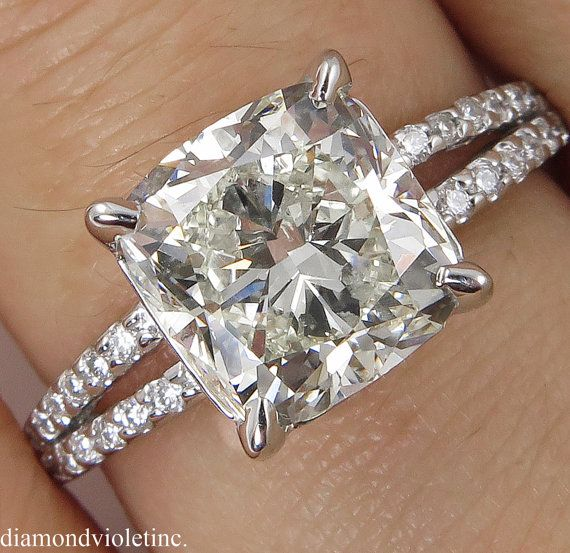 3.71ct Estate Vintage Cushion Diamond Engagement by DiamondViolet