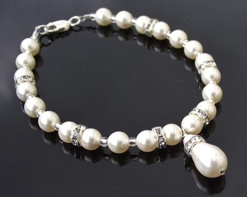 Teardrop Swarovski Pearl & Crystal Bracelet, Edith