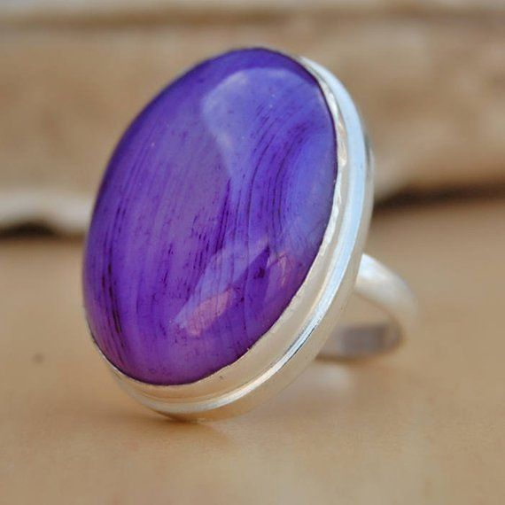 Lavender Aztec Lace Agate Ring Purple Stone Ring Eco Friendly Sterling Silver Ring Sz 5.5 Purple Agate Ring Raw Cut Stone Ring
