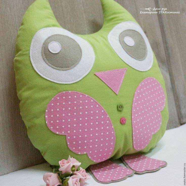 Купить СПЛЮШКИ - подушка, совушки, сова, детская комната, розовый, голубой, подушки на диван