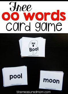 Here's a simple oo words card game for beginning readers. It's free to download!
