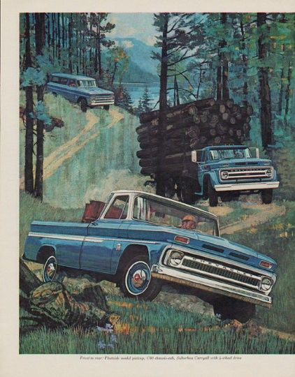 """1964 CHEVROLET TRUCKS vintage magazine advertisement """"Chevrolet Trucks for '64"""" ~ This is a lot more truck than your money bought the last time ... Front to rear: Fleetside model pickup, C80 chassis-cab, Suburban Carryall with 4-wheel drive ~ Size: The dimensions of each page of the two-page advertisement are approximately 10.5 inches x 13.25 inches (26.75 cm x 33.75 cm). Condition: This original vintage two-page advertisement is in Excellent Condition unless otherwise noted."""