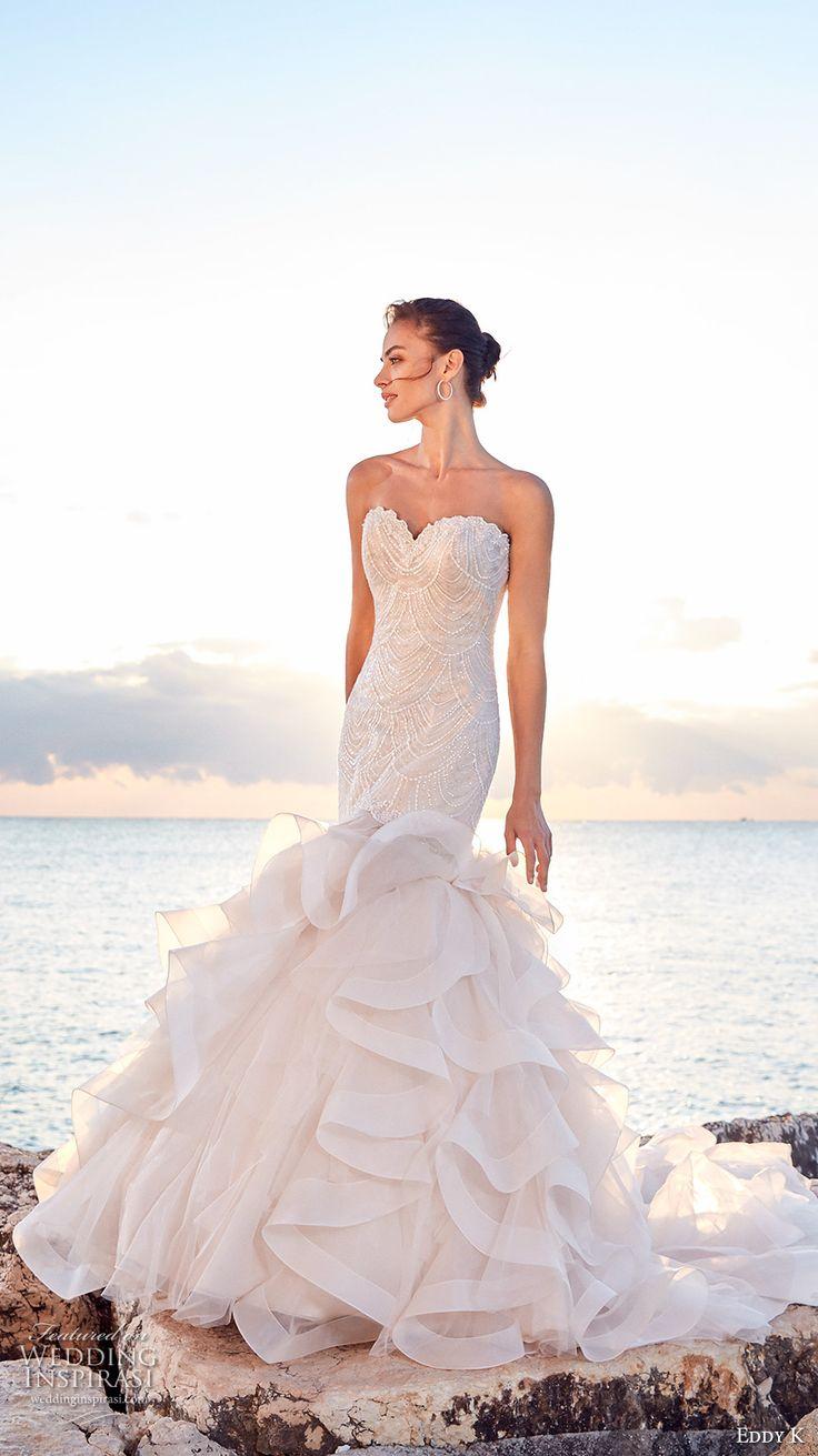 eddy k 2018 bridal strapless sweetheart neckline heavily embellished bodice ruffled skirt glamorous romantic mermaid wedding dress chapel train (daria) mv -- Eddy K 2018 Wedding Dresses