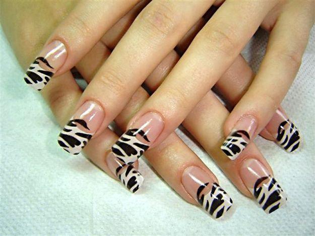Французский маникюр с рисунком в стиле зебры ::: onelady.ru ::: #nail #nails #nailart #manicure