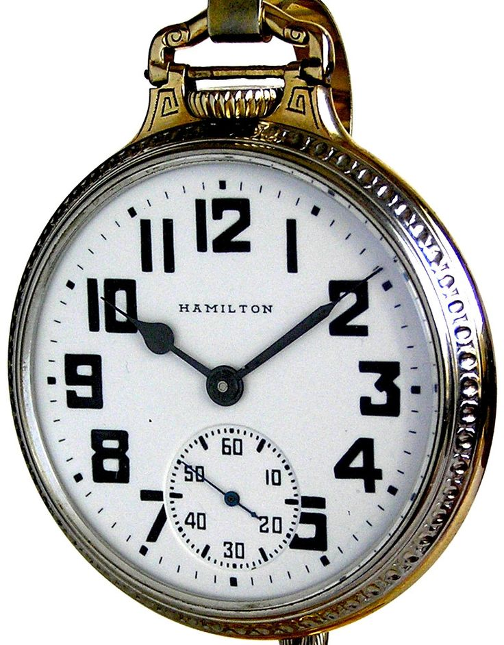 Hamilton 992B Vintage Railroad Pocket Watch 16 Size 21 Jewels in a Hamilton 2 Tone Case Circa 1942