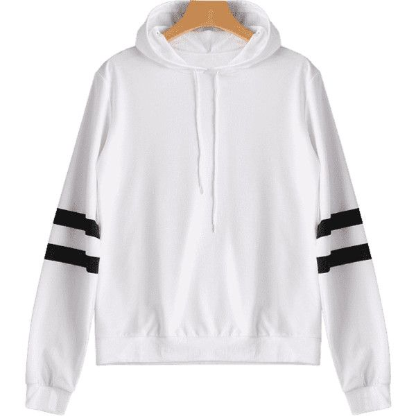 Casual Stripes Panel Hoodie White S ($23) ❤ liked on Polyvore featuring tops, hoodies, striped hoodies, hooded pullover, white hoodie, stripe hoodie and striped hooded sweatshirt