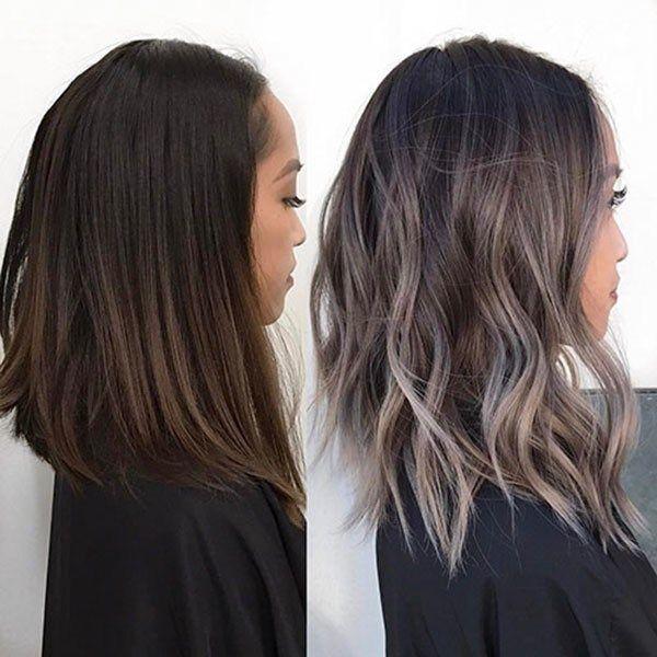 Ash Gray Ombre Hair Popular Short Wavy Hairstyles 2019 Short Wavy Hair Balayage Hair Brown Hair Balayage