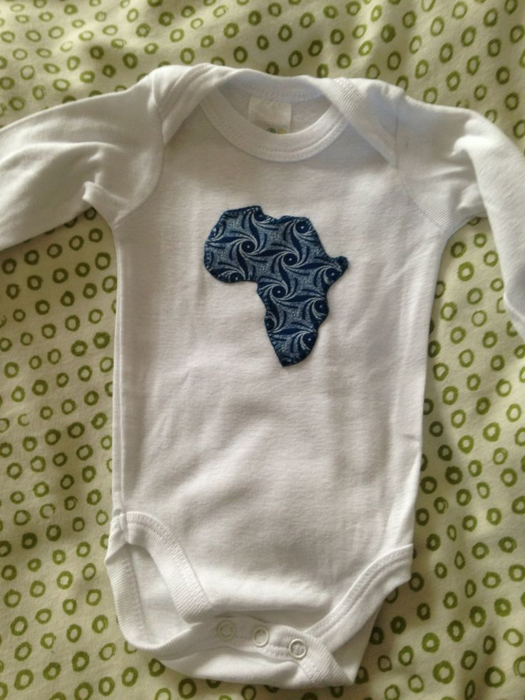 Appliqued Africa onesie that i made for my Bump
