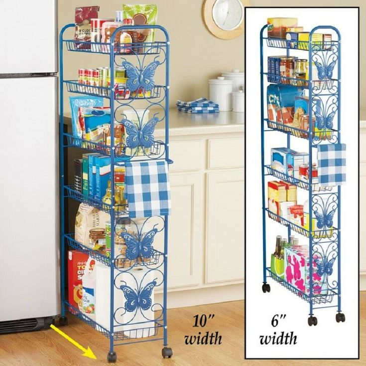Rolling Kitchen Shelves Pantry Cart Storage Rack Blue