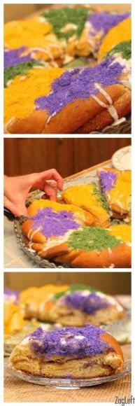 Traditional New Orleans Mardi Gras King Cake Recipe with Cream Cheese Filling / ZagLeft #mardigras