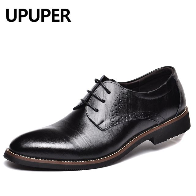 Best Price $29.85, Buy UPUPER Big Size:35-48 Business Men Dress Shoes Genuine Leather Lace-Up Black Oxfords Shoes High Quality Flats For Male