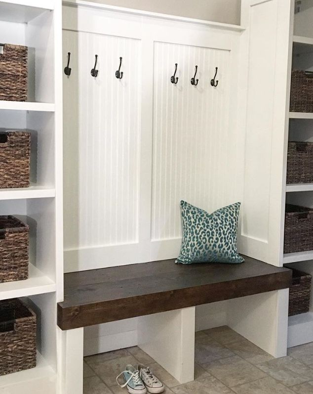 Mudroom Bench With Basket Storage Bead Board And Batten Trim Detail Modern Farmhouse Design