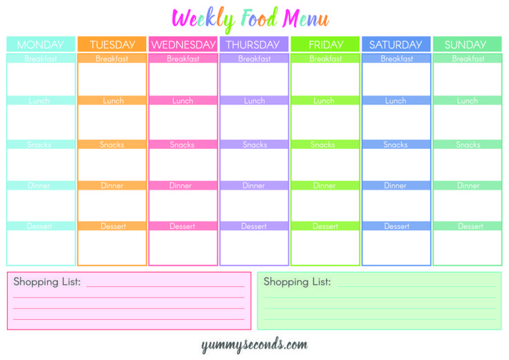 HAVING A FOOD MENU HELPS WITH YOUR MEAL PLANNING, FITNESS GOALS