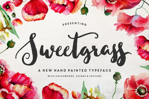 Meet Sweetgrass! A delicate, hand-inked script with an 'unfonty' feel. Want to give your projects that organic, hand-painted look? Well, I've included plenty of ends, alternates and extras,