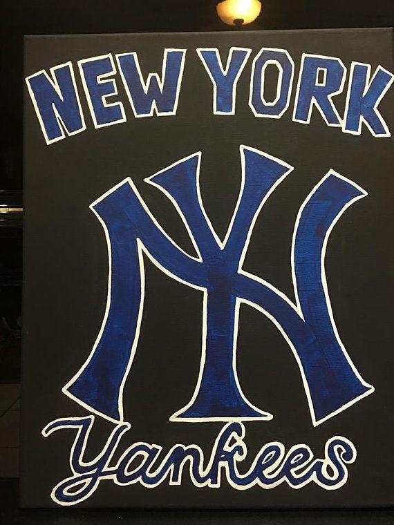 New York Yankees Canvas Hand Paining Baseball Sports Canvas Etsy Easy Canvas Art New York Yankees Sport Canvas