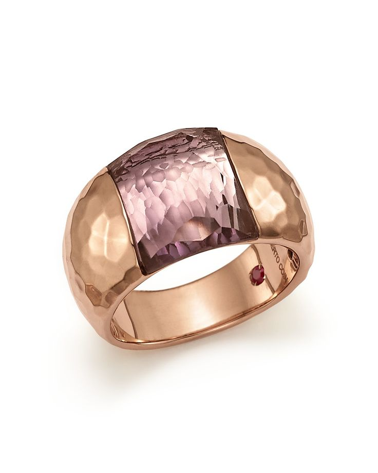 Roberto Coin 18K Rose Gold Martellato Ring with Amethyst
