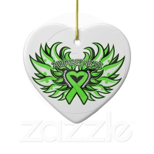 Lymphoma Awareness Heart Wings Christmas Tree Ornament