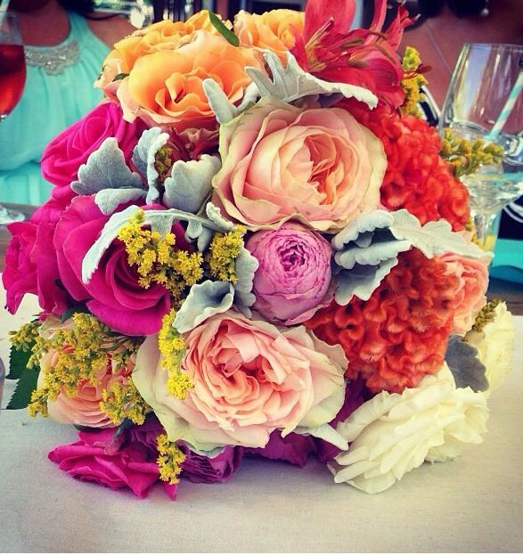 Bright and colourful wedding bouquet by The French Petal, Byron Bay NSW, Australia