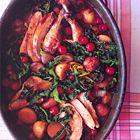 Fazant met kastanjes, nieuwe aardappelen, cranberry's en kool - recept - okoko recepten