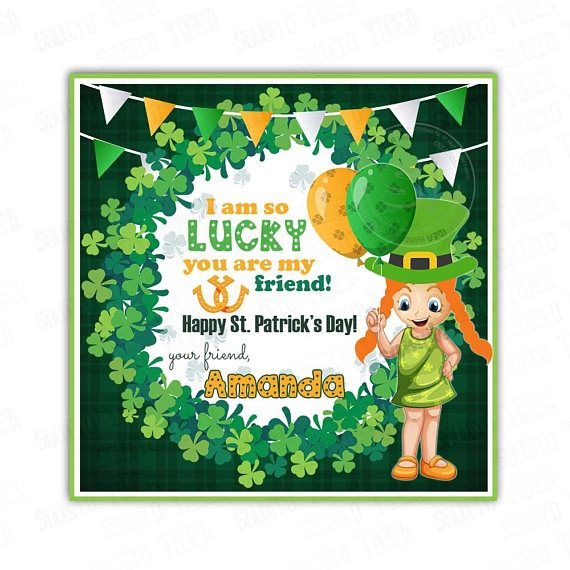 St Patrick's Day Printable Tags-Girl-Happy St