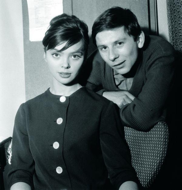 "Paris, 27th december 1959, Roman Polanski &  his first wife Barbara Kwiatkowska-Lass on the set of her movie ""The Thousandth Window"" dir. by Robert Ménégoz. Photo by Claude Schwartz"