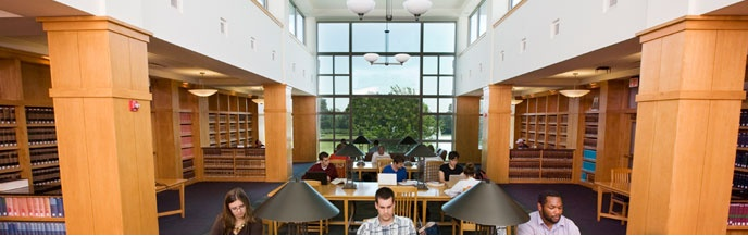 Schmid Library's reading room is a popular place to study when you're looking for a quiet, no talking place to buckle down