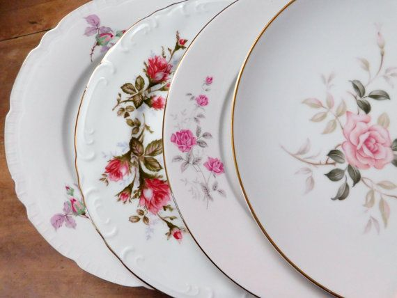 Mismatched China Dinner Plates Pink Floral by LittleDixieVintage