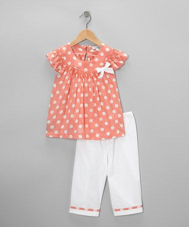 Take a look at this Peach Polka Dot Smocked Top & Pants - Infant & Toddler by Fantaisie Kids on #zulily today!