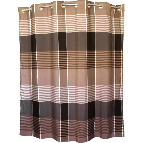 Brown Plaid Hookless Polyester Shower Curtain