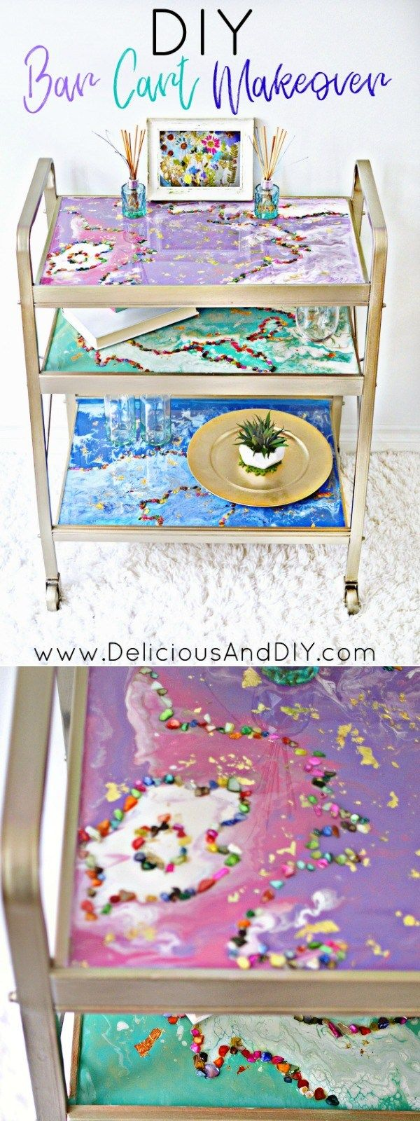 Give a stunning makeover to your old bar cart using drip pour technique, colored...