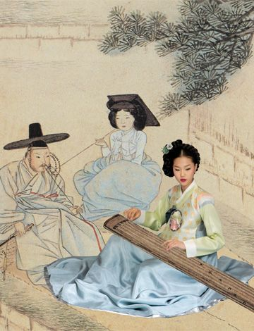 Korean traditional dress and music instrument