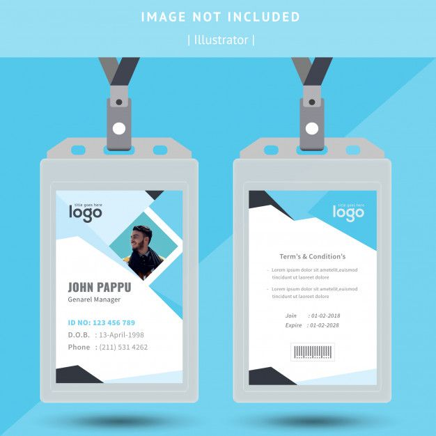 Abstract Identification Or Id Card Design Identity Card Design Id Card Template Business Card Design Creative