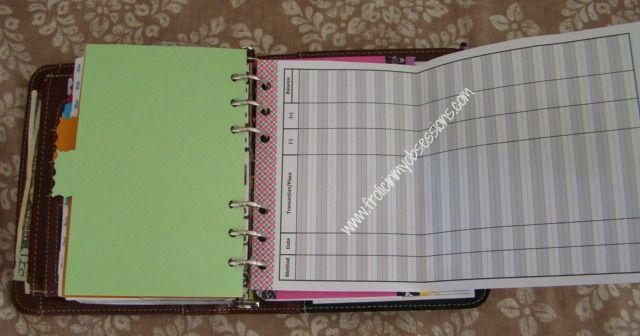 Organizing A Planner Wallet. Check/Debit register.