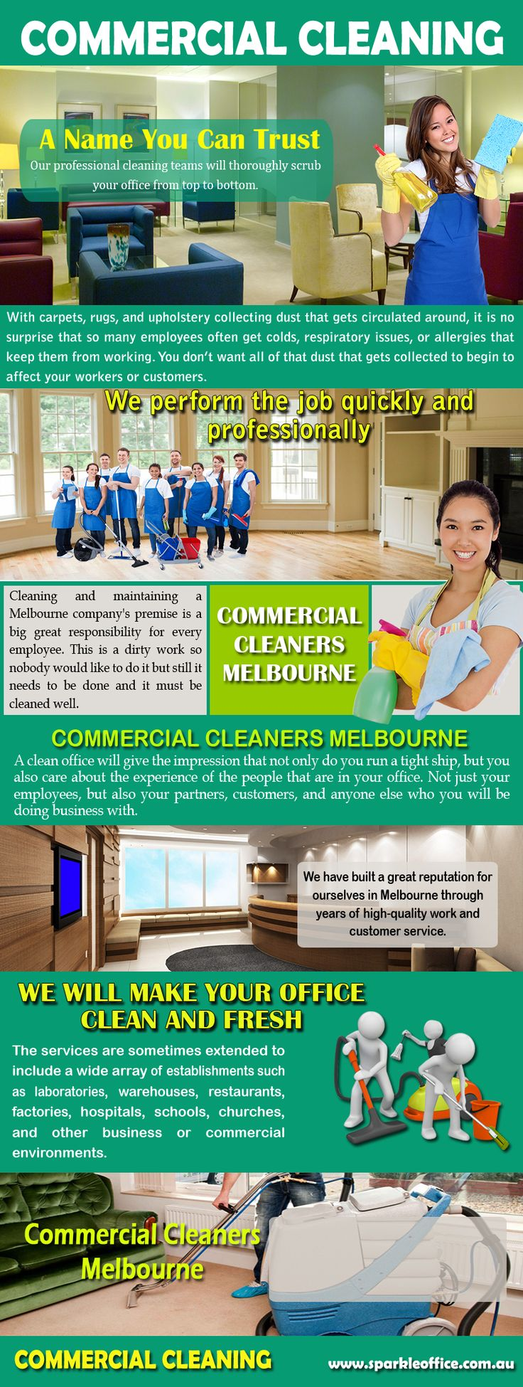 """Visit this site https://www.facebook.com/End-of-Lease-Cleaning-Melbourne-1527963877420356/ for more information on Commercial Cleaning. Commercial Cleaning service companies use their """"regular"""" toxic commercial products to clean your office or building, they sometimes must dilute these products in water to use them, such as when they're mopping the floor. When they dump that water, the dirt from the floor goes with it into the sewer system, of course,"""