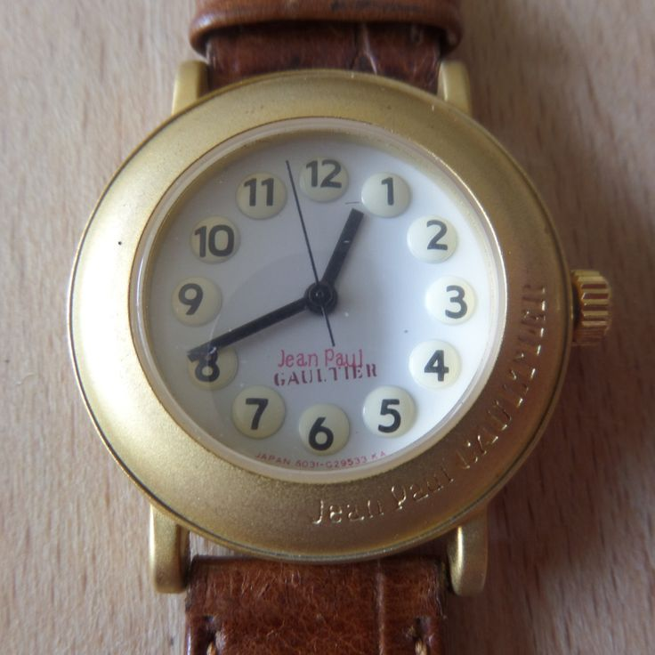 Incredible condition - Montre Uhren - Jean Paul Gaultier  - Guaranteed Genuine, very rare quartz watch, original signed leather strap by EWcoLondon on Etsy