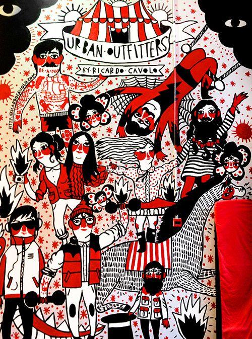 Ricardo Cavolo. Mural at Urban Outfitters, Covent Garden, London