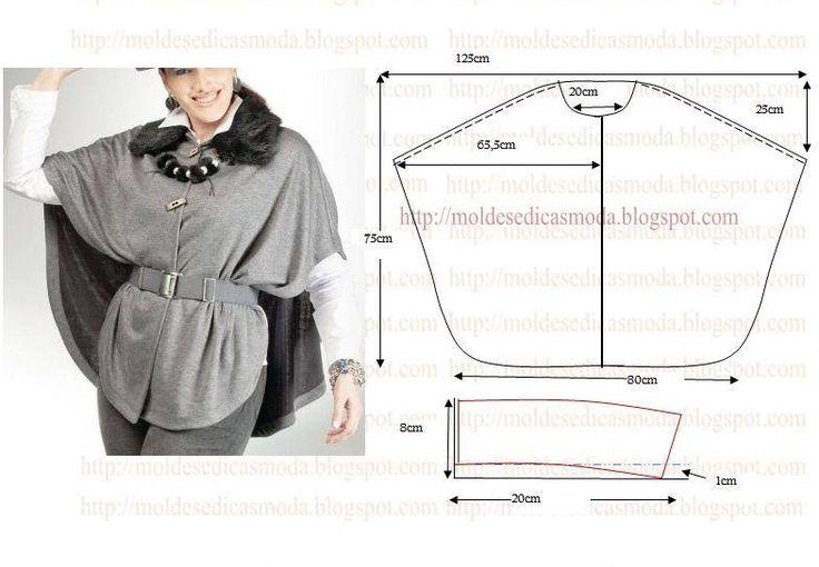 PASSO A PASSO MOLDE DE CAPA Corte dois retângulos de tecido com a altura e…