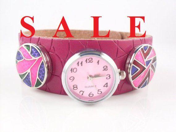 Wristwatch, Lederuhr, clock, push button, buttons, quartz watch ...