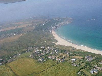 aerial view of Sennen beach