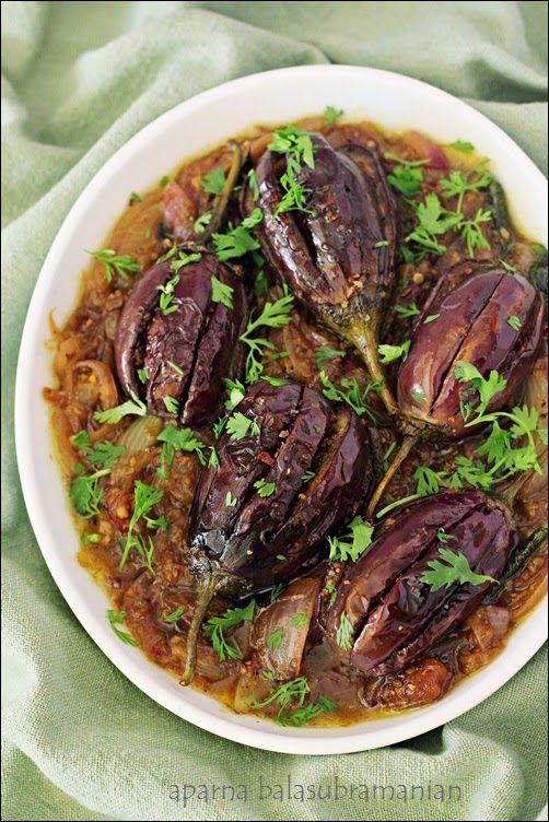 My Diverse Kitchen: Bhagara Baingan (Spicy Stuffed Eggplant/Brinjal/ Aubergine)
