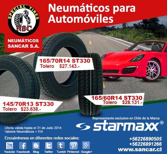 Aprovecha una Excelente Oferta de Neumáticos Starmaxx para automóviles  - Medida: 145/70R13 ST330 modelo: tolero marca Starmaxx, precio: $23.638.-  - Medida: 165/60R14 ST330 modelo: tolero marca Starmaxx, precio: $28.131.-  - Medida: 165/70R14 ST330 modelo: tolero marca Starmaxx, precio: $27.143.-  www.sancar.cl – ventas@sancar.cl - Antillanca 560 módulo 5 Lo Boza Pudahuel - Teléfono +56226890505 | Bascuñán Guerrero 540 Santiago - Teléfono +56226891266